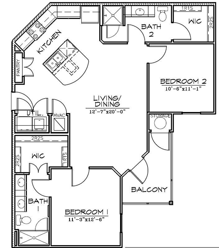 B3 - Two Bedroom / Two Bath - 1,013 Sq. Ft.*