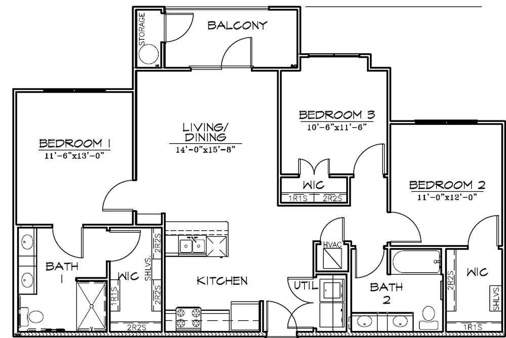 C1 - Three Bedroom / Two Bath - 1,220 Sq. Ft.*